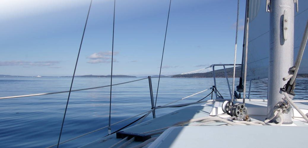 Smooth sailing on yacht in calm waters